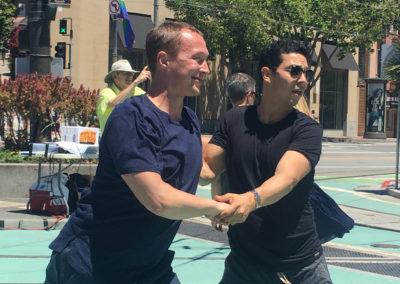 Nikolai Shpakov & Ernesto Palma, pop-up dance in the Castro (Photo by Gail Freedman)